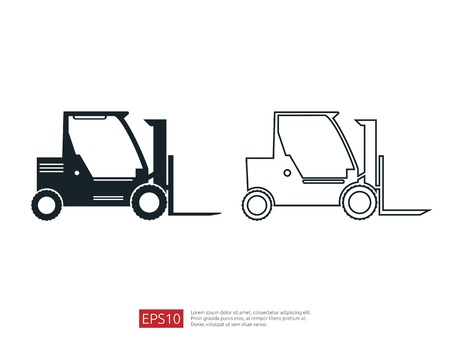 Forklift truck line icon. warehouse fork loader vector illustration. delivery truck symbol for supply storage service, logistic company, freight load, cargo, shipping, transportation. Иллюстрация