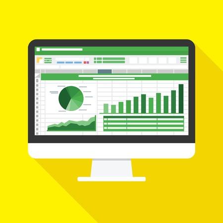 Arkusz kalkulacyjny na ikonę płaski ekran komputera. Koncepcja raportu rachunkowości finansowej. rzeczy biurowe do planowania i księgowości, analizy, audytu, zarządzania projektami, marketingu, ilustracji wektorowych badań