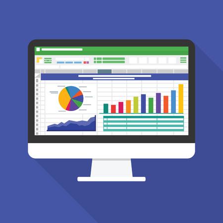 Arkusz kalkulacyjny na ikonę płaski ekran komputera. Koncepcja raportu rachunkowości finansowej. rzeczy biurowe do planowania i księgowości, analizy, audytu, zarządzania projektami, marketingu, ilustracji wektorowych badań Ilustracje wektorowe