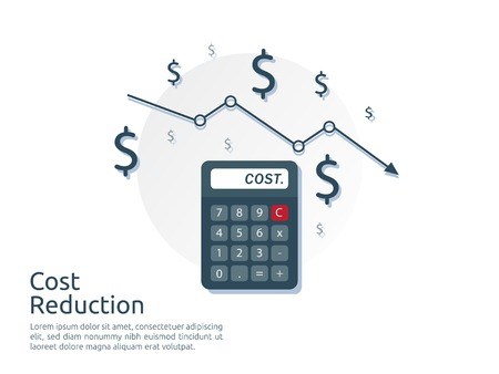 cost reduction concept. calculator and arrow line decrease. dollar money fall down symbol. economy stretching rising drop. Business lost crisis. bankrupt icon. banner vector illustration. Vettoriali