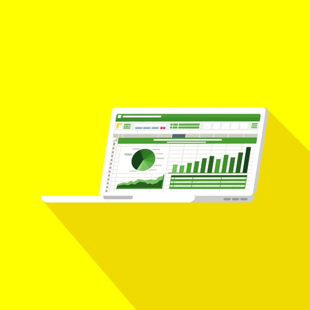 Spreadsheet on Laptop screen flat icon. Financial accounting report concept. office things for planning and accounting, analysis, audit, project management, marketing, research vector illustration Illusztráció