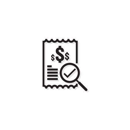 Icône de ligne de facture. Symbole de billet d'un dollar de paiement d'argent. document de rapport financier des coûts budgétaires avec graphique. Petit concept de données. Signe de ligne de gestion des affaires comptables. conception d'illustration vectorielle de contour. Vecteurs