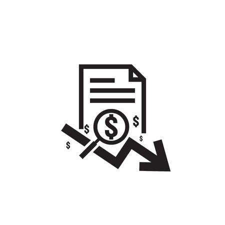 dollar arrow decrease rate icon. Money arrow symbol. economy stretching rising drop fall down. Business finance lost crisis. cost reduction bankrupt icon. flat outline vector illustration. Stock Illustratie