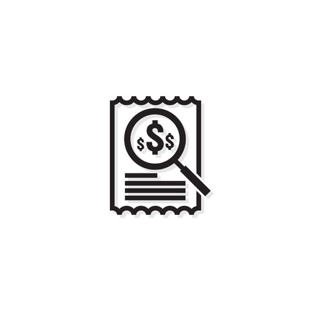 Invoice line icon. Payment money dollar bill symbol. budget cost finance report document with chart. Small data concept. Accounting business management line sign. outline vector illustration design. Vettoriali