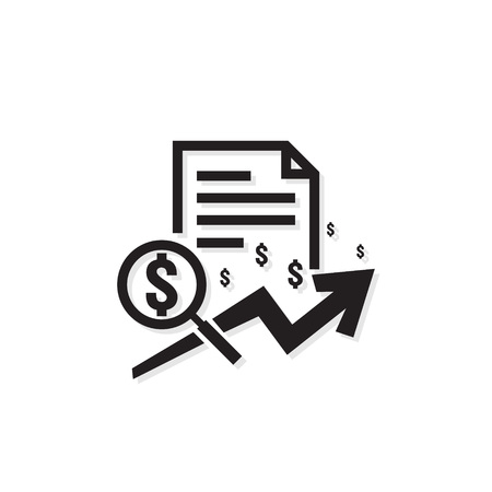 dólar icono de aumento de ingresos. Símbolo de dinero con flecha que se extiende. Símbolo de venta de costo de finanzas comerciales. pago de salario subiendo. ilustración vectorial de contorno.