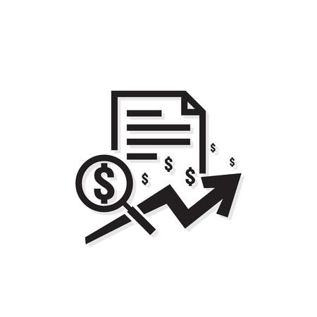 Dollar erhöhen Einnahmen Symbol. Geldsymbol mit Pfeildehnung. Geschäftsfinanzierungskostenverkaufssymbol. Gehaltszahlung steigt. Umrissvektorillustration.