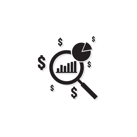 Business analysis icon. symbol with magnifying glass. rising bars chart. dollar increase revenue. Money symbol with arrow. finance cost outline vector illustration