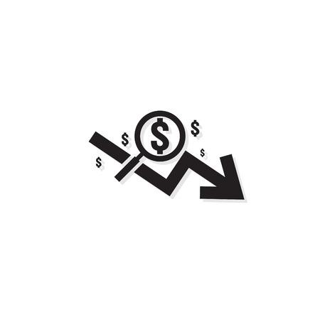 icono de tasa de disminución de flecha de dólar. Símbolo de flecha de dinero. la economía se extiende al alza la caída cae hacia abajo. Las finanzas empresariales perdieron la crisis. icono de quiebra de reducción de costes. ilustración vectorial de contorno plano.
