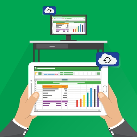 Spreadsheet icon tablet Computer flat style vector illustration. hand holding phone tablet with cloud computing data process on screen.