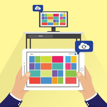 hand holding phone with cloud computing data process on screen, flat style vector illustration