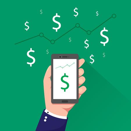 hand holding phone with dollar sign on screen vector illustration Vektoros illusztráció