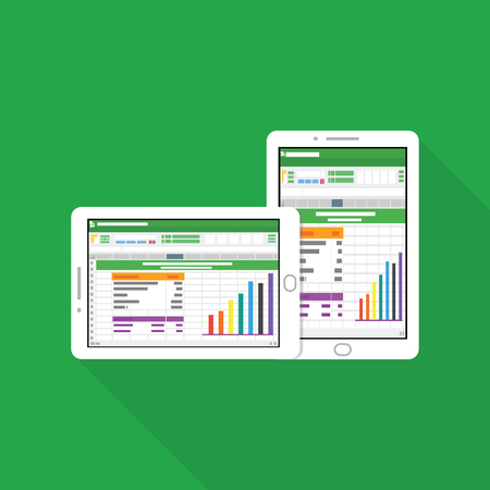 Spreadsheet icon data Vector Illustration tablet computer Ilustração