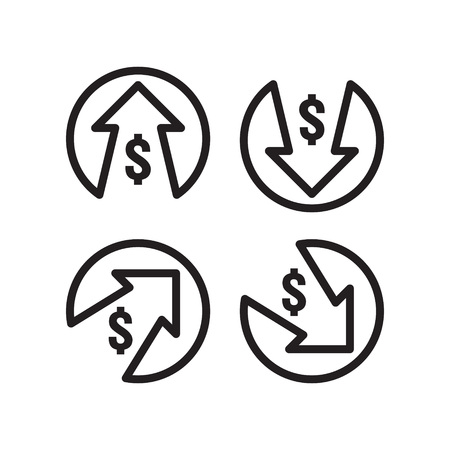 dollar increase decrease icon. Money symbol with arrow stretching rising up and drop fall down. Business cost sale and reduction icon. vector illustration. Stock Illustratie