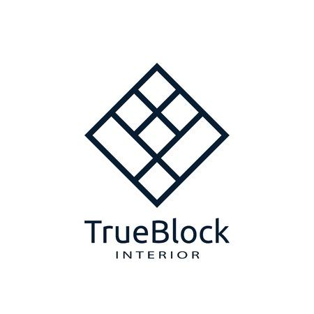 icône du logo du mur de tuiles pour tapis, sol, industrie de la céramique. symbole abstrait carré hexagonal. signe minimal concept design template vector illustration