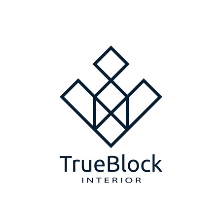 tile wall logo icon for carpet, floor, ceramic industry. hexagon square abstract symbol. minimal sign concept design template vector illustration Logó
