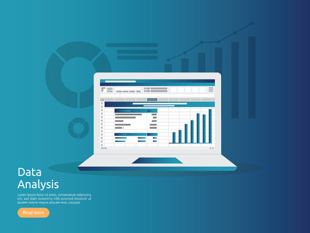 big data analysis on screen. SEO analytic, spreadsheet business audit with graphs charts. Return on investment ROI, audit, project, marketing, research concept. accounting report business to success