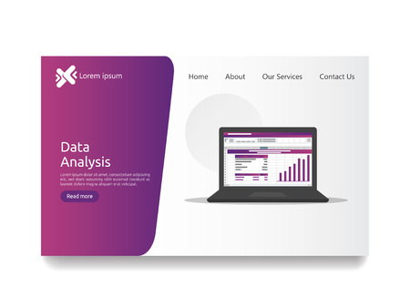 big data analysis on screen. SEO analytic, spreadsheet business audit with graphs charts. Return on investment ROI concept. accounting report business to success. flat style web landing page template