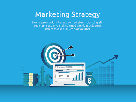 marketing strategy spreadsheet on screen. business finance analysis audit with graphs charts. Return on investment ROI concept. increase profit stretching rising up. banner template illustration