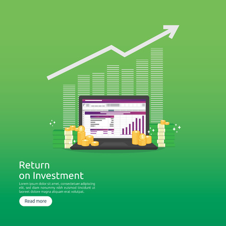 SEO data analytic, spreadsheet on screen. business finance analysis audit with graphs charts. Return on investment ROI concept. increase profit stretching rising up. flat style vector illustration