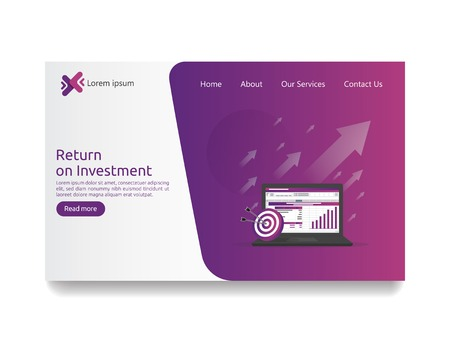 SEO data analytic, spreadsheet on screen. business finance analysis audit with graphs charts. Return on investment ROI concept. increase profit stretching rising up. flat style web landing page Ilustracje wektorowe