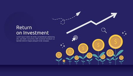 return investment ROI or growth business finance concept. increase profit stretching rising up. flat style vector illustration of market data analytics, strategic management, financial planning. Illustration