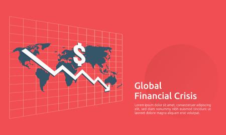 Konzept der Krise der Unternehmensfinanzierung. Geld fällt mit dem Pfeilverringerungssymbol nach unten. Wirtschaft strecken steigenden Rückgang, weltweit verloren bankrott. Kostensenkung oder Einkommensverlust. Vektor-Illustration.