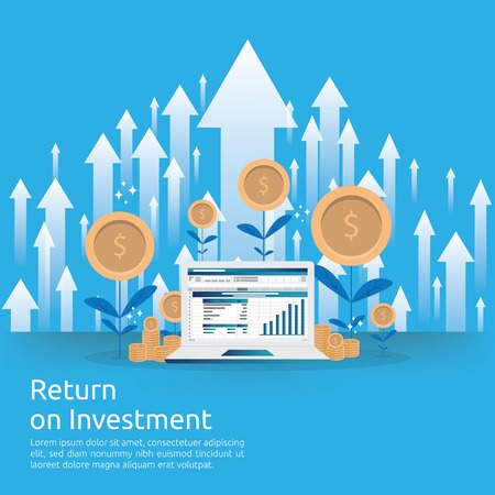 Return on investment ROI concept. business growth arrows to success increase profit. Finance stretching rising up. market strategic management, financial planning flat style vector illustration
