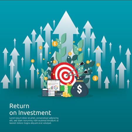 Ritorno sull'investimento concetto di ROI. frecce di crescita aziendale per il successo. pila di dollari pila monete e sacco di soldi. grafico aumentare il profitto. Finanza che si estende in aumento. banner piatto stile illustrazione vettoriale. Vettoriali