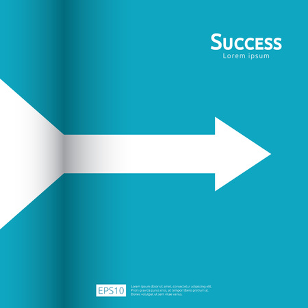 business arrow target direction concept to success. Finance growth vision stretching rising up. banner flat style vector illustration. Return on investment ROI. chart increase profit.