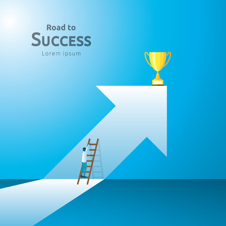 business concept with stair and trophy cup. arrow direction to success winner. Finance growth vision, victory achievement award and personal career development banner flat style vector illustration Stok Fotoğraf - 124773978