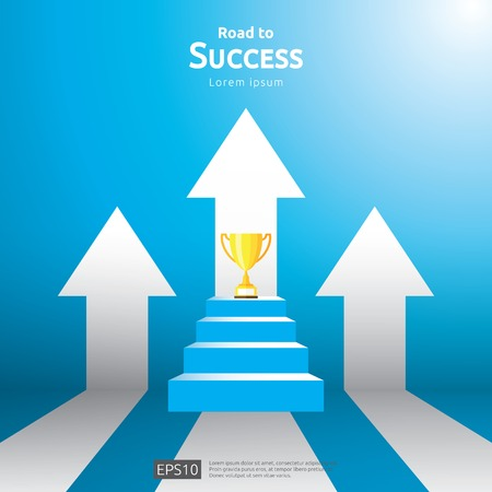 business concept with stair and trophy cup. arrow direction to success winner. Finance growth vision, victory achievement award and personal career development banner flat style vector illustration Ilustração
