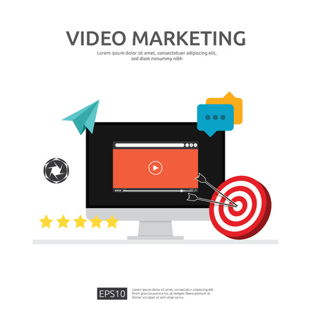 Media marketing concept. Making money from video with social network. Digital advertising promotion strategy. online vlog content flat vector banner illustration with graph and monitor PC screen.