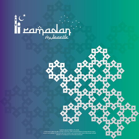 islamic design concept. Ramadan Kareem or Eid Mubarak greeting with abstract mandala element with pattern ornament background for invitation Banner or Card. Vector illustration Vecteurs
