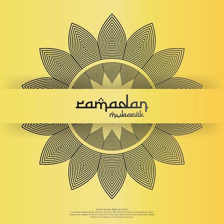 islamic design concept. Ramadan Kareem or Eid Mubarak invitation Banner or Card Background greeting. abstract mandala with arabic pattern, mosque ornament and lantern element. Vector illustration. Çizim