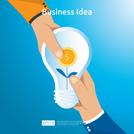 Buy and sell transaction of business idea with hand hold light bulb dollar coin bag and growing plant object. Financial innovation solution concept or investment vision opportunity with flat design.