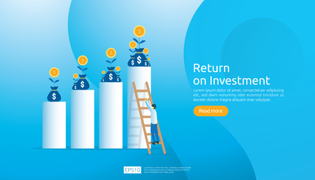 Return on investment ROI concept. business growth arrows to success. dollar plant coins, graph and money bag. chart increase profit. Finance stretching rising up. banner flat style vector illustration Vektoros illusztráció