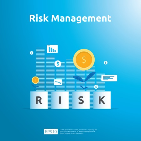 Risk Management and financial identifying. evaluating and challenge in business prevent protect. company performance analysis concept. Idea of business and market in flat design vector illustration. Stok Fotoğraf - 120857636