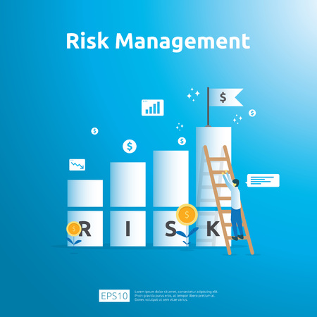 Risk Management and financial identifying. evaluating and challenge in business prevent protect. company performance analysis concept. Idea of business and market in flat design vector illustration.