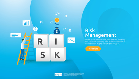 Risk Management and financial identifying. evaluating and challenge in business prevent protect. company performance analysis concept. Idea of business and market for banner or landing page design Stok Fotoğraf - 121094680