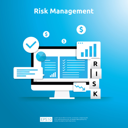 Risk Management and financial identifying concept. evaluating and challenge in business prevent protect. company performance analysis. Idea of business and market for banner or landing page