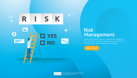 Risk Management and financial identifying. evaluating and challenge in business prevent protect. company performance analysis concept. Idea of business and market for banner or landing page design