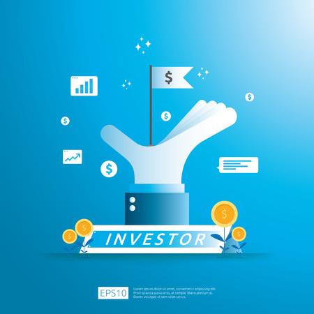 financial business investor funding concept with money coin and success symbol flag in big hand illustration. Return on investment ROI or salary payment conceptual. vector illustration