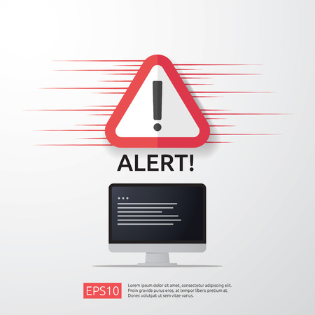 attention warning attacker alert sign with exclamation mark on computer monitor screen. beware alertness of internet danger symbol icon. Security VPN protection Concept. vector illustration.