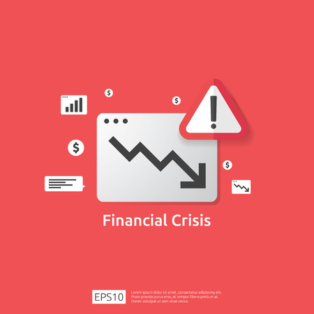business finance crisis concept with alert exclamation mark. money graph fall down symbol. arrow decrease economy stretching rising drop. lost bankrupt declining. cost reduction. loss of income.