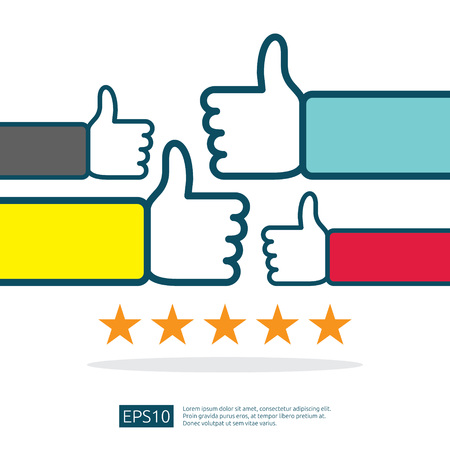 positive good review with hand thumb up symbol on social media. five stars service or product rate recommendation opinion and customer approve concept