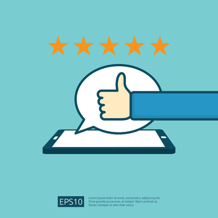 positive good review with hand thumb up symbol on phone social media notification. five stars service or product rate recommendation opinion and customer approve concept Stock Illustratie