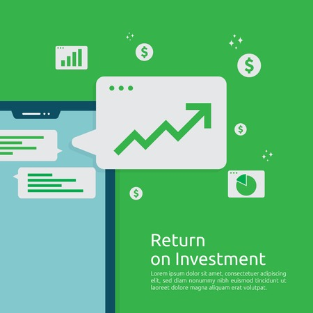 Business growth graph and arrows chart increase to success. Return on investment ROI or increase profit concept. Finance stretching rising up. Financial analysis for marketing strategy banner Vektoros illusztráció