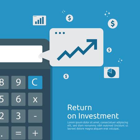 Wykres wzrostu biznesu i wykres strzałki zwiększają się do sukcesu. Zwrot z inwestycji ROI lub koncepcja zwiększenia zysku. Finanse rozciągają się w górę. Analiza finansowa dla banera strategii marketingowej