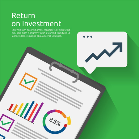 Return on investment ROI concept. business document report with growth arrows to success. chart increase profit. Finance stretching rising up. banner flat style vector illustration.