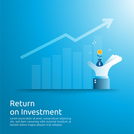 Return on investment ROI concept. business growth arrows to success. dollar money bag on big investor hand. chart increase profit. Finance stretching rising up. banner flat style vector illustration.